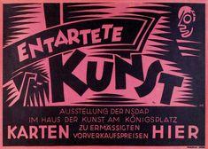 Entartete Kunst poster, Berlin, 1938. Degenerate Art Exhibition