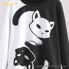 Black and White Yin Yang Cat Women's Sweater Casual Outfits, Cute Outfits, Yin Yang, Kittens Cutest, Black Friday, Jumper, Sweaters For Women, Black And White, Cat