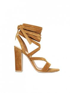 Gianvito Rossi Suede Lace-Up Sandals in camel suede