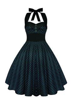 Pin Up Dress Rockabilly Dress Black Polka Dot Halter Vintage 50s Retro Gothic Dress Lolita Steampunk Swing Prom Party Plus Size Clothing