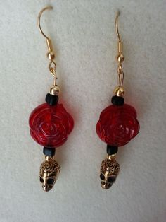 Skull and Rose Earrings by sweetmelissasshop on Etsy, $7.00