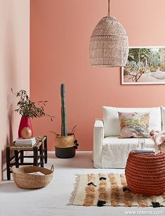 Pink just dance lounge Peach Living Rooms, Peach Rooms, Peach Bedroom, Peach Colored Rooms, Peach Walls, Pink Walls, Pink Feature Wall, Feature Wall Living Room, Feature Walls