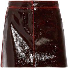 Tibi Tibi - Glossed Wool-blend Mini Skirt - Burgundy (£590) via Polyvore featuring skirts, mini skirts, wet look skirt, short skirts, wool blend skirt, 80s skirts and brown skirt
