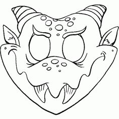Cute Printable Halloween Animal Paper Masks bat mask coloring page