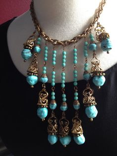 Early Unsigned Haskell Turquoise Festoon Necklace by medusacurls, $1700.00