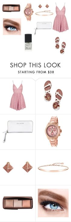 """Rose Gold"" by colorfulnay on Polyvore featuring Topshop, Tory Burch, MICHAEL Michael Kors, Pink Mascara, Thomas Sabo, Maybelline and Lane Bryant"