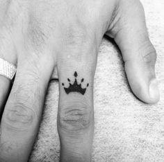 Crown Finger Tattoo by Oz Rozenberg