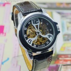 Hot Sale Fuyate Sport Automatic Watch J179 – Male Stainless Steel Skeleton Auto Mechanical Watches Leather Wristwatch.