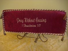 burgundy and gold kneeling prayer pillow