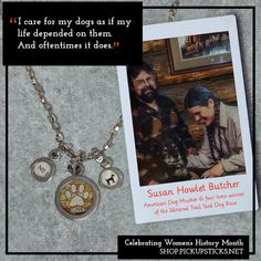 "We are celebrating Women's History Month and ""Susan Butcher Day"" by highlighting the impact and achievements she accomplished in the Iditarod. Gold Rosary Necklace, Pick Up Sticks, American Dog, Dog Jewelry, Women's History, Jewelry Companies, Best Dogs, Charms, Day"