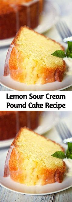 Lemon Sour Cream Pound Cake - the most AMAZING pound cake I've ever eaten! So easy and delicious! Top the cake with a lemon glaze for more yummy lemon. Lemon Desserts, Köstliche Desserts, Lemon Recipes, Dessert Recipes, Plated Desserts, Pond Cake, Pound Cake Recipes, Moist Sour Cream Pound Cake Recipe, Moist Lemon Pound Cake