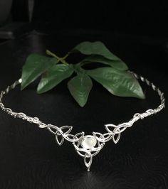 Celtic Wedding Bridal Headpiece Sterling Silver Circlet by Camias