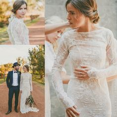 Elegant Long Sleeves Full Lace Sheath Summer Wedding Dress Bridal Gown 4 6 8 10+