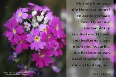 Dag 88 Bybelvers:  Psalm 121: 2-4 My hulp kom van die Here wat hemel en aarde gemaak het.  Hy sal nie toelaat dat jy struikel nie; Hy wat jou beskerm, slaap nooit nie. Waarlik, die Beskermer van Israel sluimer nie in nie en Hy slaap nie.