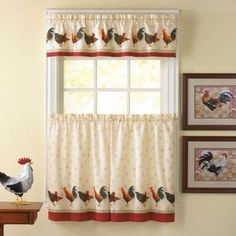 Cortinas country: Fotos de modelos - Diseño de cortinas country adornada con gallos