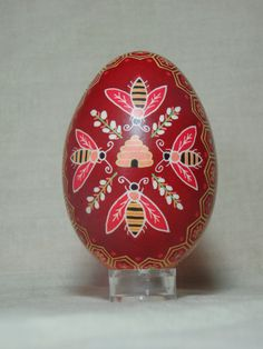 Hived bees - hand painted goose egg by HankyPysanky via Etsy