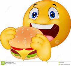 icu ~ Pin on Cartoon ~ Emoticon smiley eating hamburger Royalty Free Vector Image