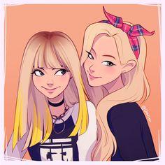 Lisa and Jinny Park Cute Girl Drawing, Cartoon Girl Drawing, Girl Cartoon, Cartoon Drawings, Best Friend Drawings, Kpop Drawings, Art Drawings Sketches, Girl Drawings, Cute Drawings Of Girls