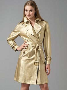 This trench coat is everything I love: flashy, sophisticated and classy! Fall Wardrobe Essentials, Leather Trench Coat, Trench Coats, Pvc Raincoat, Rain Wear, Vinyl, Saks Fifth Avenue, Well Dressed, Burberry