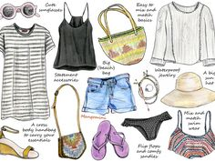 Packing for a holiday can be stressful. I always try to fit too much in my suitcase and end up wearing only a few pieces over and over again. For this week's illustrated how-to, I've drawn my holiday wardrobe essentials. For me it's all about mixing cuteness with comfort and I want to be able to mix and match as many outfits as possible with as little items as possible. This means a few neutral (but pretty) basics mixed with colorful statement accessories.