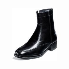 75b2f2c20b4 Florsheim Essex Boot Mens Boot Black Leather Side Zipper Moc Toe 17074-001