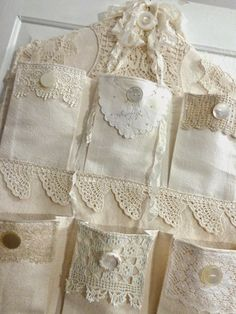 Antique Vintage Decor ~ The Feathered Nest ~: Antique lace, vintage buttons and plenty of pockets for treasures! Shabby Chic Crafts, Vintage Crafts, Vintage Sewing, Shabby Vintage, Vintage Embroidery, Upcycled Vintage, Vintage Fabrics, Vintage Decor, Vintage Antiques