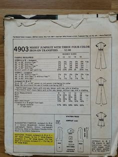 Vintage Jumpsuit Pattern by TigerSewing on Etsy
