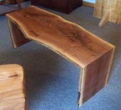 """Here are snapshots of some furniture we currently have available. Pictures don't do justice to the beautiful live edge, wood grain, & color, so we encourage you to come see for yourself! Slab stools ship easily, & """"The Package Store""""."""