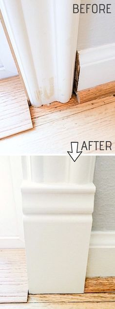 Easy DIY Remodeling Ideas On A Budget (before and after photos) DIY Door Trim is an easy way to upgrade your home! A list of some of the best home remodeling ideas on a budget. Easy DIY, cheap and quick updates for your kitchen, living room, bedrooms a Easy Home Decor, Cheap Home Decor, Home Renovation, Home Remodeling, Kitchen Remodeling, Cheap Remodeling Ideas, Remodeling Contractors, Ideas Paneles, Door Ideas
