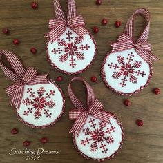 I stitched a quartet of snowflake ornaments for four wonderful stitching friends. It was so good to spend time stitching the day away with…Stitching Dreams: Christmas Stitching on Halloween Xmas Cross Stitch, Cross Stitch Christmas Ornaments, Diy Christmas Ornaments, Christmas Cross, Xmas Crafts, Diy Christmas Gifts, Handmade Christmas, Cross Stitch Embroidery, Snowflake Ornaments