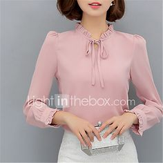 Women& Going out Casual& Work Street chic Spring Blouse,Solid Stand Long Sleeve Polyester Opaque 2017 - Street Chic, Cheap Womens Tops, Top Streetwear, Spring Blouses, Mode Style, Blouse Designs, Korean Fashion, Going Out, Fashion Dresses