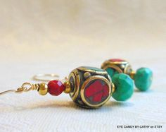 Red coral and turquoise earrings with gold by EyeCandybyCathy on ETSY, $22.00