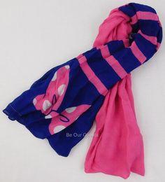 Disney Parks Minnie Mouse Pink Bow Blue Striped Ladies Fashion Scarf New #Disney