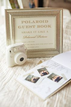 love the polaroid guest book and personalized matches for the cigar bar