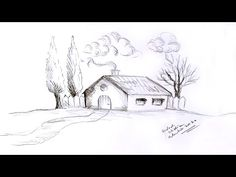 Desen in creion cu o casuta cu copaci de toamna | Pencil drawing of a li... Pencil Drawings, Trees, Simple, House, Snow, Draw, Home, Haus, Home Decor Trees