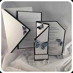 3D Butterfly wedding invitations handmade and personalised stationery