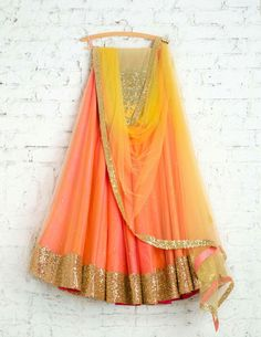Indian designer peach lehenga choli for wedding outfits. For order whatsapp us on wedding outfits wedding dress wedding dresses lengha lehnga sabyasachi manish malhotra Indian Skirt, Indian Dresses, Indian Outfits, Indian Clothes, Pakistani Dresses, Half Saree Designs, Lehenga Designs, Indian Attire, Indian Wear