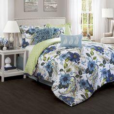 Lush Decor Floral Paisley Blue 7-Piece Comforter Set