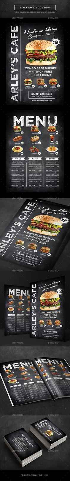 Blackboard Menu + Business Card Template PSD. Download here: http://graphicriver.net/item/blackboard-menu-business-card/15814356?ref=ksioks