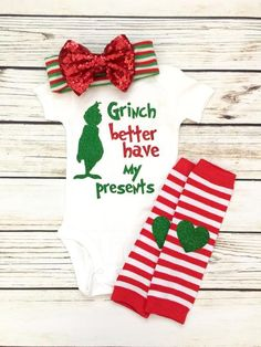 Too Cute For The Naughty List Baby Girl Christmas Outfit Baby Girl Christmas Onesie Outfit Grinch Baby, Baby Boys, My Baby Girl, Baby Girl Stuff, Infant Girls, Baby Gap, Toddler Girls, Baby Must Haves, Baby Outfits