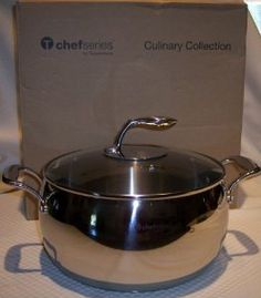 Tupperware Chef Series 8 Qt Stockpot Pan Stainless NEW by Tupperware. $189.00. Cast hollow handles provide superior grip and stay cool to the touch. Professional Grade Stainless Steel. 8 Quart 7.6L Capacity. Tempered glass cover. Etched measurements inside pot in both quarts and liters.. Professional Grade Stainless Steel  Premium cookware features quality construction for superior performance, durability and a lifetime of enjoyment. Features an encapsulated base with a ...