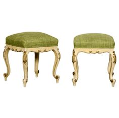 Louis XV Style Painted and Gilded Carved Tabourets, France c.1895 | From a unique collection of antique and modern stools at https://www.1stdibs.com/furniture/seating/stools/
