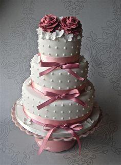 Pink Ribbon and Roses Wedding Cake by Sugar Ruffles, via Flickr