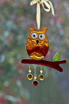 Owl suncatcher cut love the glass blob dangles