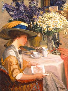 ✉ Biblio Beauties ✉ paintings of women reading letters & books - Robert Emil Stubner   Summer Afternoon