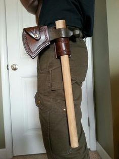 Leather #axe cover with belt attachment. Custom made, all hand stitched.
