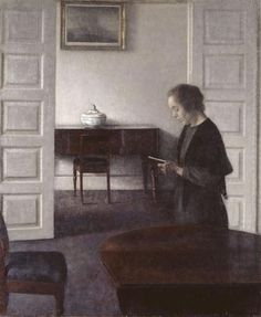 Interior with a Reading Lady - Vilhelm Hammershoi