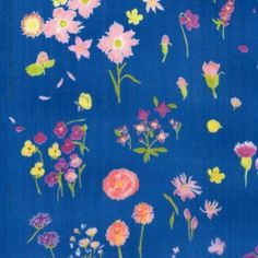 Nani Iro Sen Ritsu Embrace, floral on pool blue cotton double gauze fabric, Japanese sewing fabric by Naomi Ito for Kokka Fabrics Japanese Sewing, Japanese Fabric, Double Gauze Fabric, Fabric Wallpaper, Floral Design, Textiles, Kids Rugs, Watercolor, Crafty