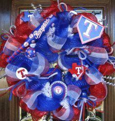 Deco Mesh TEXAS RANGERS WREATH by decoglitz on Etsy, $125.00