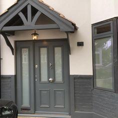 Grey Front Doors, Oak Front Door, Double Front Doors, Victorian Homes Exterior, Victorian Porch, Front Door Canopy Uk, Porch Extension, Extension Ideas, Front Porch Design